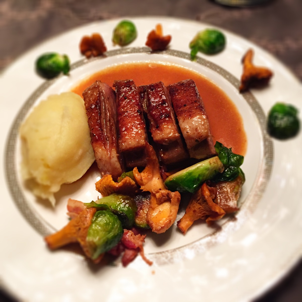 Sous Vide duck with root vegetable mash, brussle sprouts fried with ...